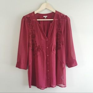 UO Ecote Burgundy Embroidered Tunic Blouse